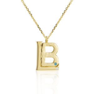 Cut-Out Initial Yellow Gold Pendant