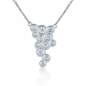 Fizz 18ct white gold large diamond pendant
