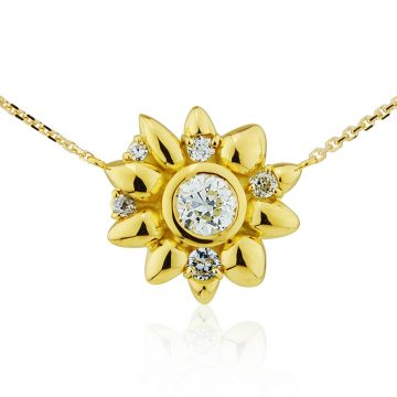 Petal And Diamond Pendant