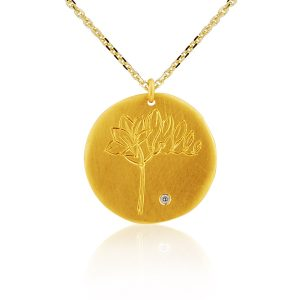 18ct Yellow Gold Personalised Disc Pendant