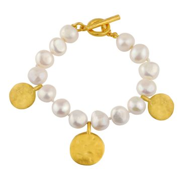 Pearl and coin bracelet