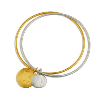 Pearl and coin double bangle