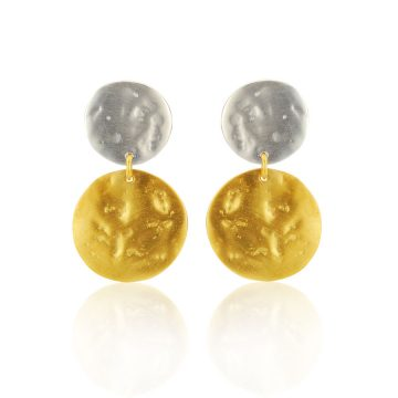 Pearl and coin double drop earrings