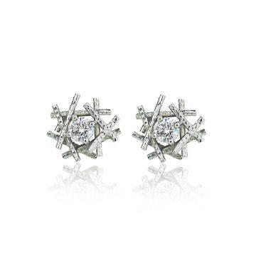 Platinum Sticks And Stones Diamond studs
