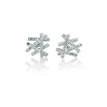 platinum sticks and stones stud earrings