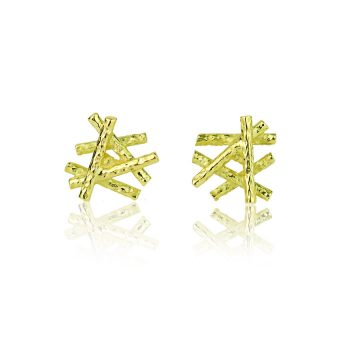 18ct Yellow Gold Sticks And Stones Stud earrings